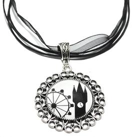 Straubing-Edition Motivkette schwarz-weiß mit antiksilberfarbener Fassung (Ornament)