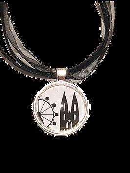 Regensburg-Edition Motivkette schwarz-weiß mit hellsilberfarbener Fassung
