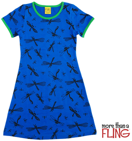 Kurzarm Kleid 'More than a FLING' Libelle Blau