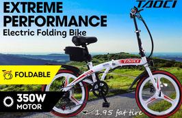 "TAOCI Folding Electric Bike 20"" eBike w/ Removable Battery Steel Frame Red"