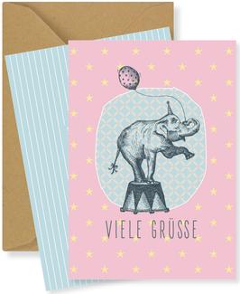 VIELE GRÜSSE, Elefant rosa (FKM 16208)