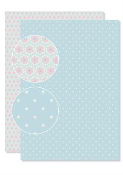HELLBLAU Sterne – ROSA-HELLBLAU Blumen