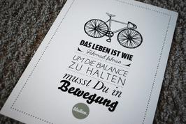 Kunstdruck Das Leben ist wie Fahrrad fahren