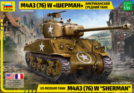 "Zvezda 3676 US Medium Tank M4A3 (76) W ""Sherman""  COD: 3676"