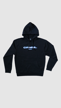 BLACK LIMITED SPORT HOODIE CRMNL / BLUE WHITE EMBROIDERY THEME