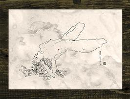 Postkarte Aktzeichnung 'Hommage An Schiele' Nr. 6