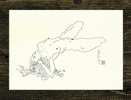 Postkarte Aktzeichnung 'Hommage an Schiele No.3'