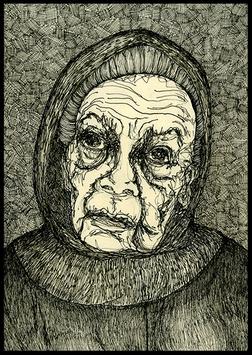 Postkarte Illustration `Flüchtling Nr. 3´