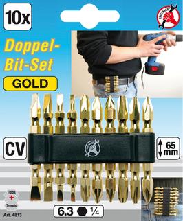 """Doppel-Bit-Satz """"Gold"""" Antrieb Außensechskant 6,3 mm (1/4"""") 10-tlg."""
