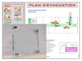 Plan d'évacuation ou d'intervention en plaque PLEXIGLASS 4 mm