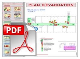 Plan d'évacuation ou d'intervention sur support PDF ou DWG