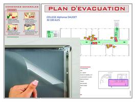 Plan d'évacuation ou d'intervention plastifié sous cadre ALU CLIC CLAC AMOVIBLE