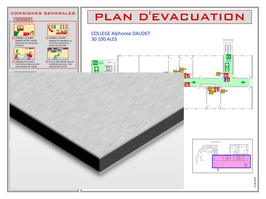 Plan d'évacuation ou d'intervention en panneau ALU DIBOND 4 mm