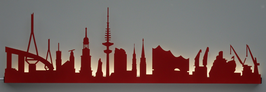 Skyline-Hamburg Silhouette rot mit LED-Beleuchtung 100 cm
