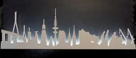 Skyline-Hamburg Silhouette weiß  mit LED-Beleuchtung 100 cm