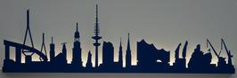 Skyline-Hamburg Silhouette blau mit LED-Beleuchtung 100 cm