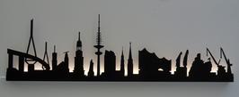Skyline-Hamburg Silhouette schwarz mit LED-Beleuchtung 100cm