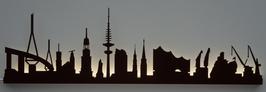 Skyline-Hamburg Silhouette braun mit LED-Beleuchtung 100 cm
