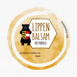 "Selbstklebende Etiketten ""LIPPENBALSAM"" - rund inkl. individuellem Bedruck"