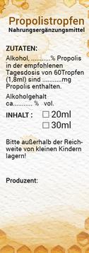 """Selbstklebende Zusatzetiketten für den Überkarton """"PROPOLISTROPFEN"""" - inkl. individuellem Bedruck"""