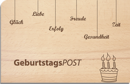 "Holz Postkarte ""GeburtstagsPOST"""