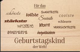 """Holz Postkarte """"Geburtstagskind"""""""