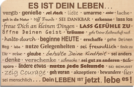 "Holz Postkarte ""Leben"""