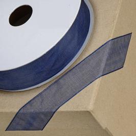 Organzaband navy blau mit Webkante 23mm, 5 Meter