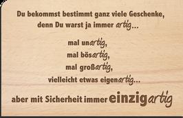 """Holz Postkarte """"artig"""""""
