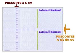 "Papel A4, Precortado, Impreso ""Lotería Nacional"" + tinta seguridad"