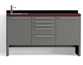 Schrankzeile mit Waschbecken und Instrumentenschrank