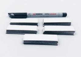 50 beschreibbare Magnetstreifen inkl. Stift | weiß– 60x20mm