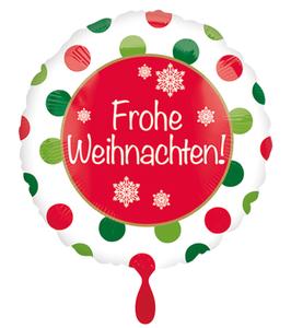 """Folien Ballon - Frohe Weihnachten 18"""" / 45cm"""