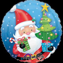 Folienballon Weihnachtsmann mit Geschenk Ø 45 cm