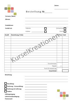 Innenseiten für Auftrags-/ Bestellbuch