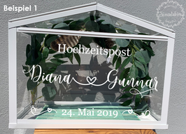 Beschriftung Gewächshaus als Hochzeitspost