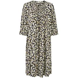 Masai Oversize Kleid mit Print in weiß/schwarz/senfgelb