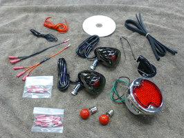 32 FORD REAR LIGHT KIT BLACK NICKEL REBEL