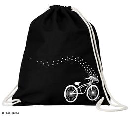 Fahrrad mit Blumen Turnbeutel