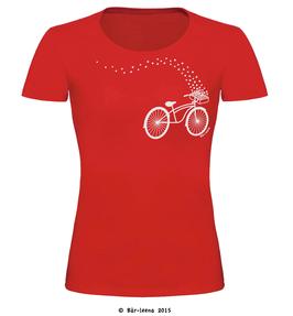 Fahrrad mit Blumen T-shirt · rot · Frauenschnitt