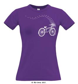 Fahrrad mit Blumen T-shirt · lila · Frauenschnitt