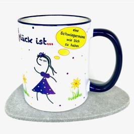 Tasse Glück ist … eine Schwiegermama wie Dich zu haben blau