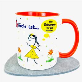 Tasse Glück ist … eine Schwester wie Dich zu haben Orange bs + Rampenlicht