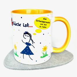 Tasse Glück ist … eine Schwiegermutter wie Dich zu haben gelb