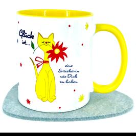 """Tasse Katze """"Glück ist, eine Erzieherin wie Dich  zu haben"""""""