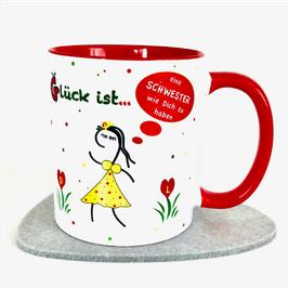 Tasse Glück ist … eine Schwester wie Dich zu haben Rot + Karte lachen