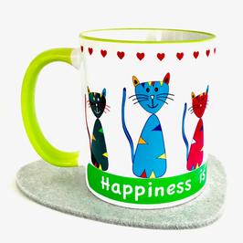 Katzentasse 3 Glück ist Freunde zu haben