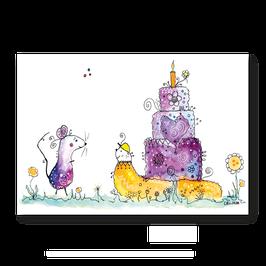 Grußkarte Schnecke und Maus - Funny-Art