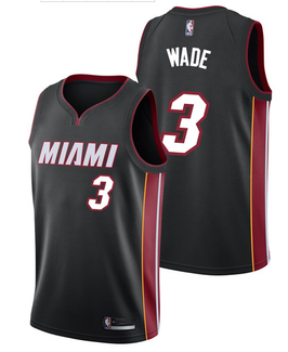Баскетбольная майка Майами Xит № 3 Дуэйн Уэйд черная SWINGMAN