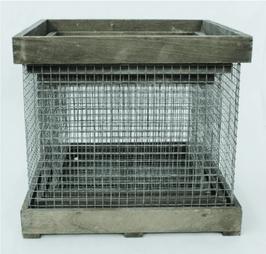 Lot de 3 cagettes carrées grillagées bois vieilli - Réf : DE035